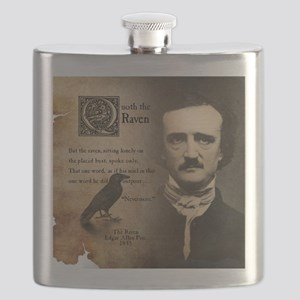 Edgar Allan Poe and Raven Nevermore Flask