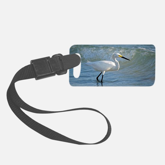 Snowy egret Luggage Tag