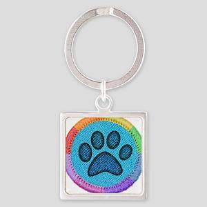 Puppy Badge Square Keychain