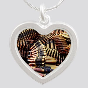 Bullets Silver Heart Necklace
