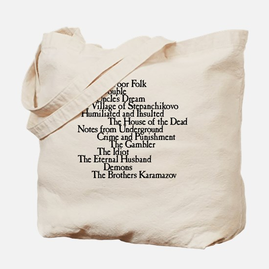 Dostoyevksy Book Titles Tote Bag