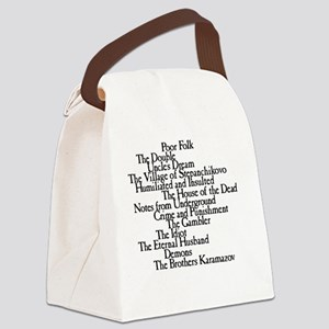 Dostoyevksy Book Titles Canvas Lunch Bag
