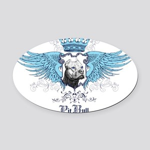 Pit Bull Dog Crest, Crown  Wings Oval Car Magnet