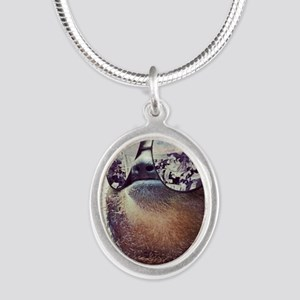 Sloths  Silver Oval Necklace