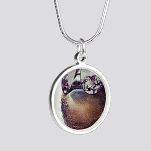 Sloths  Silver Round Necklace