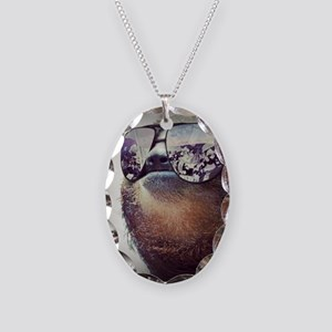Sloths  Necklace Oval Charm