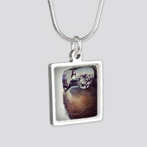 Sloths  Silver Square Necklace