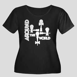 white AT Women's Plus Size Dark Scoop Neck T-Shirt