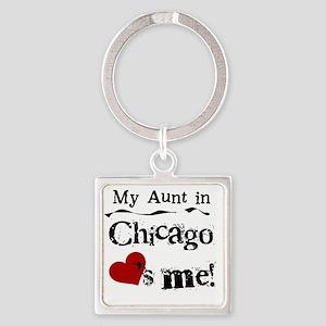 Aunt Chicago Square Keychain