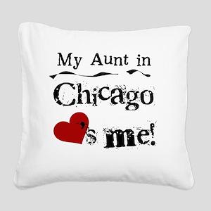 Aunt Chicago Square Canvas Pillow