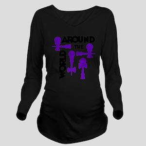 purple ATW 7 Long Sleeve Maternity T-Shirt