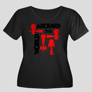 red ATW  Women's Plus Size Dark Scoop Neck T-Shirt