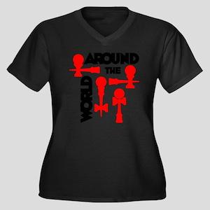 red ATW 7 Women's Plus Size Dark V-Neck T-Shirt
