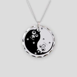 Yin Yang Cats Necklace Circle Charm