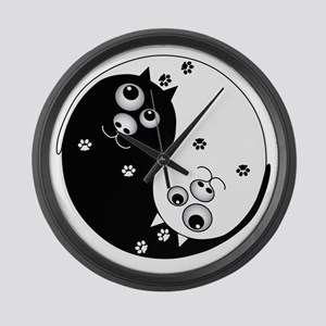 Yin Yang Cats Large Wall Clock