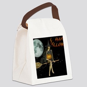 Hot Witch Happy Halloween Canvas Lunch Bag