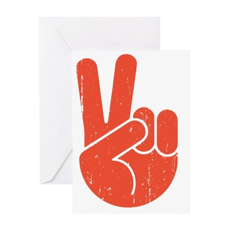 univ-peace-hand2-red-LTT Greeting Card