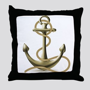 Gold Anchor Throw Pillow