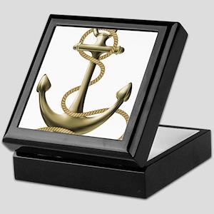 Gold Anchor Keepsake Box