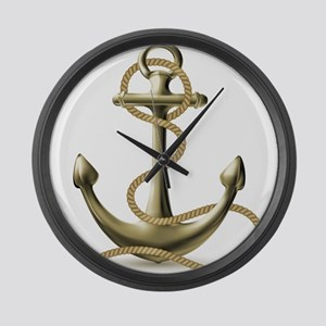 Gold Anchor Large Wall Clock
