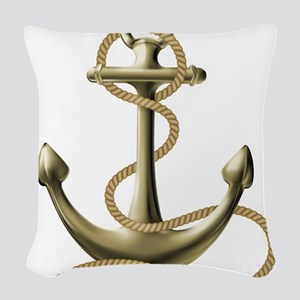 Gold Anchor Woven Throw Pillow
