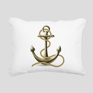 Gold Anchor Rectangular Canvas Pillow