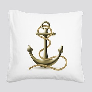 Gold Anchor Square Canvas Pillow