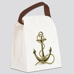 Gold Anchor Canvas Lunch Bag