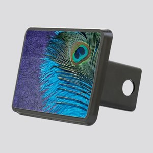 Purple and Teal Peacock Rectangular Hitch Cover