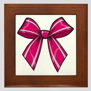 Bow Pink Framed Tile