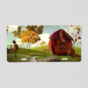 Autumn Pumpkin Fairy House Aluminum License Plate