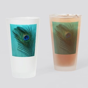 Metallic Aqua Peacock Drinking Glass