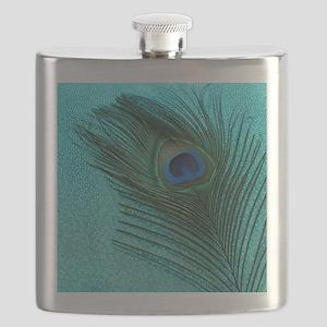 Metallic Aqua Peacock Flask