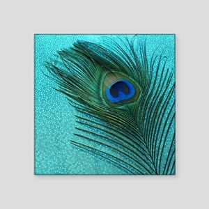 "Metallic Aqua Peacock Square Sticker 3"" x 3"""