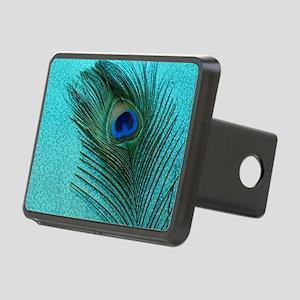 Metallic Aqua Peacock Rectangular Hitch Cover