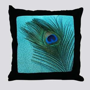 Metallic Aqua Peacock Throw Pillow