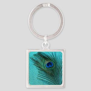 Metallic Aqua Peacock Square Keychain