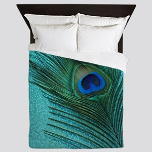 Metallic Aqua Peacock Queen Duvet