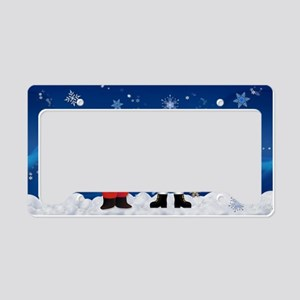 Santa & Frosty welcome winter License Plate Holder