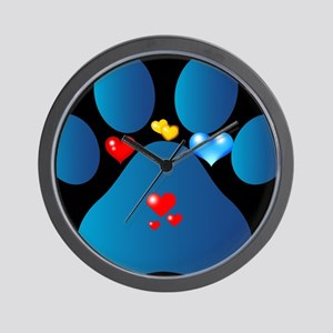 blue paw  Wall Clock