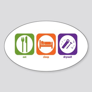 Eat Sleep Drywall Oval Sticker