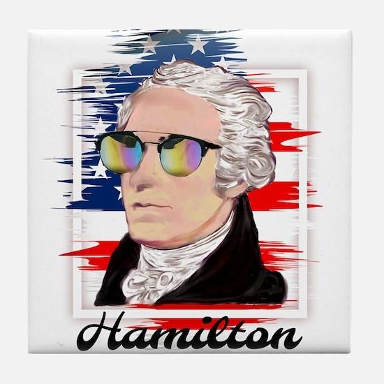 Alexander Hamilton in Color Tile Coaster
