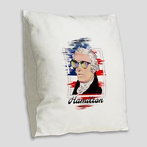 Alexander Hamilton in Color Burlap Throw Pillow