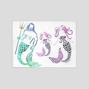Mystical Mermaid Family 5'x7'Area Rug