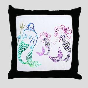 Mystical Mermaid Family Throw Pillow