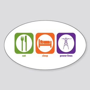Eat Sleep Power Lines Oval Sticker