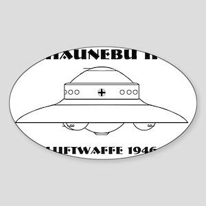 Nazi UFO - Haunebu II Mug Sticker (Oval)