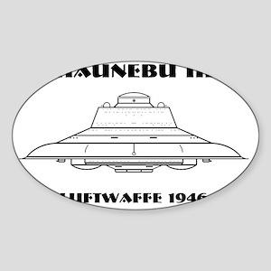 Nazi UFO - Haunebu III Mug Sticker (Oval)