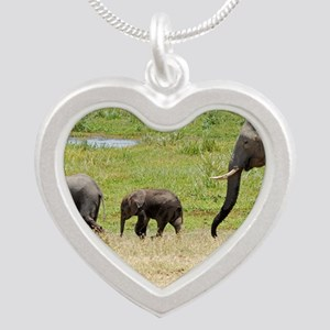 Elephant family Silver Heart Necklace