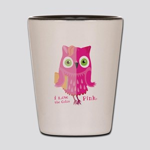 I love the color. Pink owl. Shot Glass